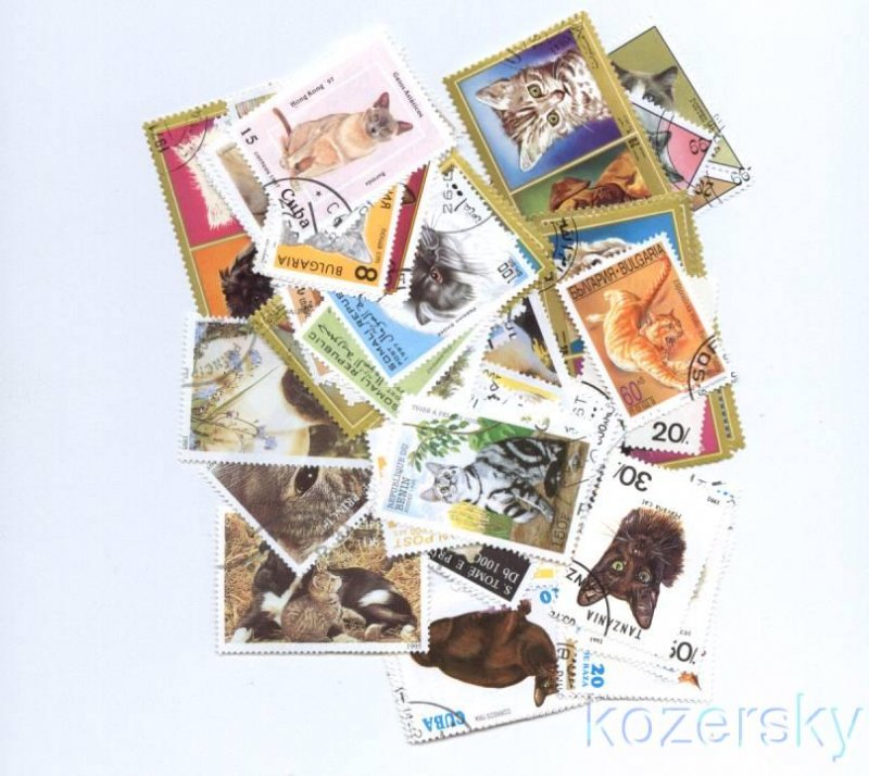 Cats on Stamps, Topical Stamp Packet, 50 diff.