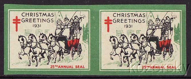 1931 U.S. National Christmas Seals, Imperforate Pair