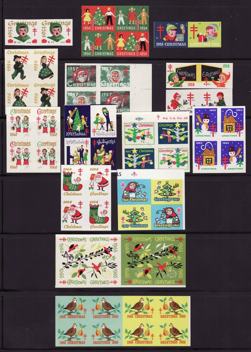 U.S. National Christmas Seal As Reauired Imperforate Proof Collection 1967