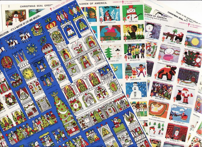 1980 Imperforate U.S. National Christmas Seals Sheet