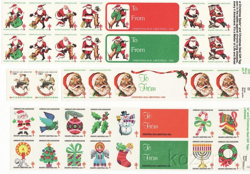 U.S. Christmas Seal Imperforate Collection 1981-87