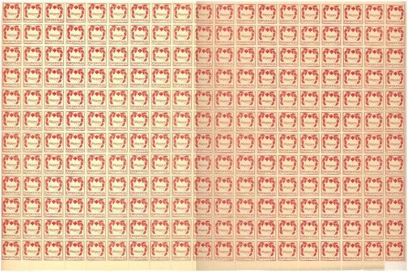 1907- 1x, WX1, 1907 U.S. Red Cross Christmas Seal Sheet, Type 1