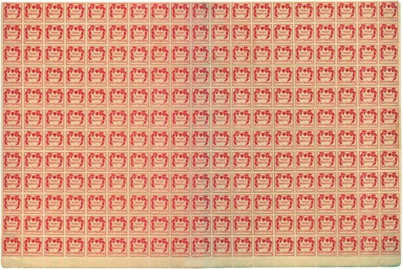 1907- 2x, WX2, 1907 U.S. Red Cross Christmas Seal Sheet, Type 2