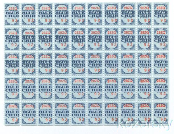 Blue Chip Trading Stamps Sheet, Series 2BZQ, No. 092