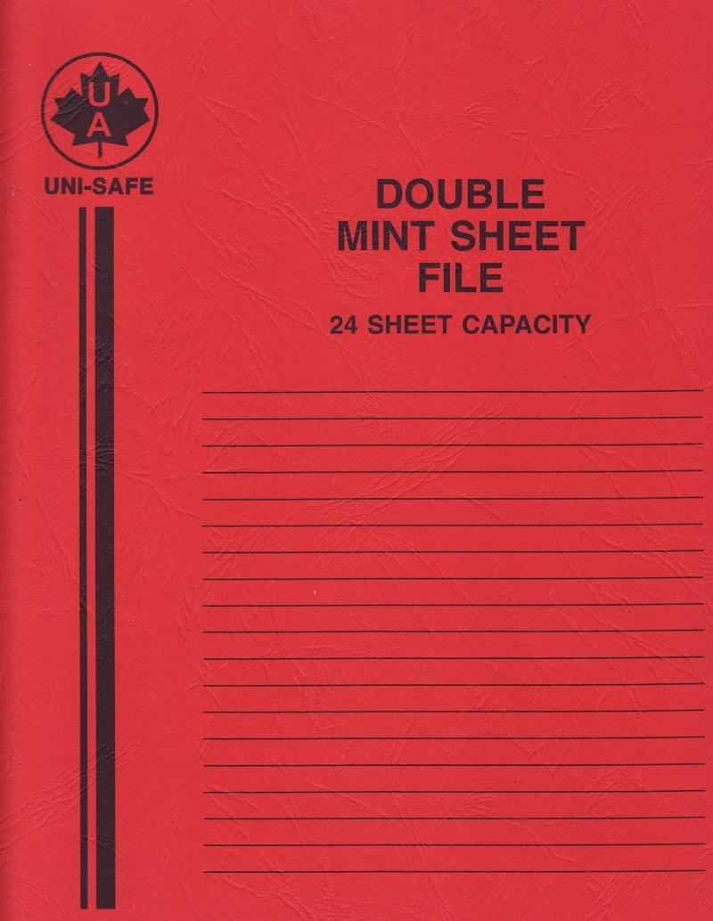 Uni-Safe Glassline Sheet File, 24 pocket Sheet File, Red Cover, reverse of cover