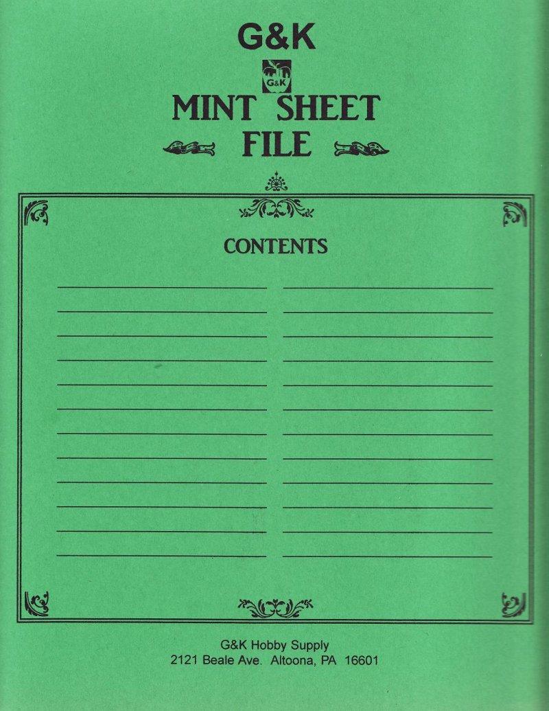 G & K Glassline Sheet Files, 48 pkt Deluxe Sheet File, Green Cover