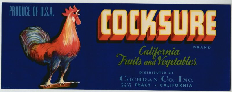 Cock Sure Brand Fruit & Vegetable Crate Label