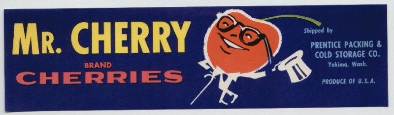 Mr. Cherry Brand Cherry Fruit Crate Label
