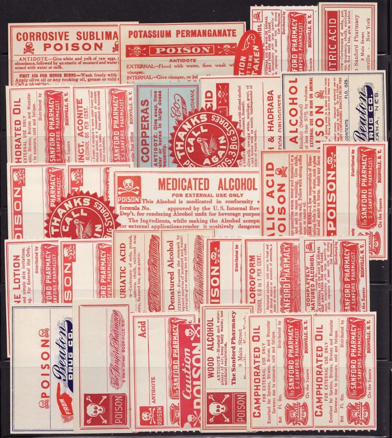 Vintage Poison Label Collection, 30 Assorted
