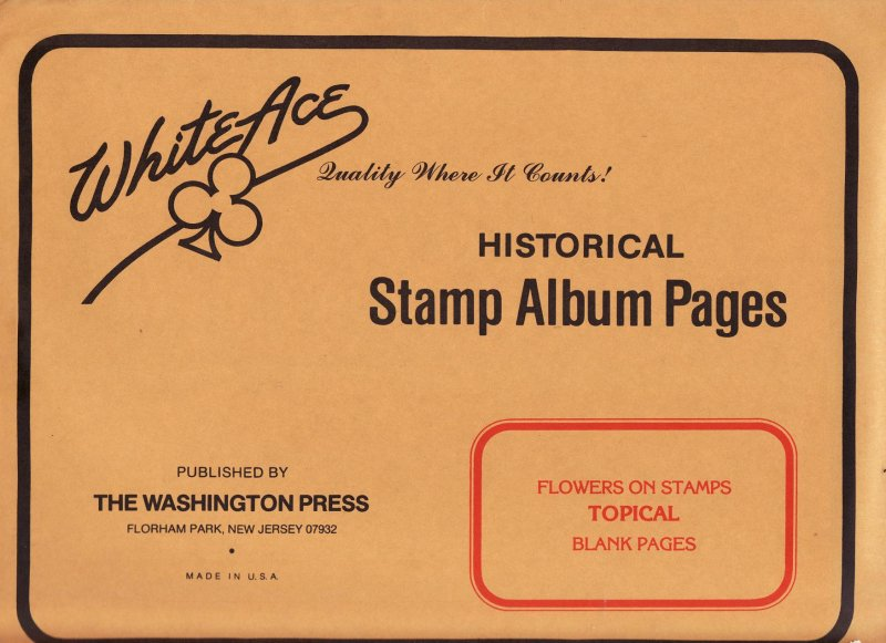 Flowers on Stamps, White Ace Topical Stamp Album Pages