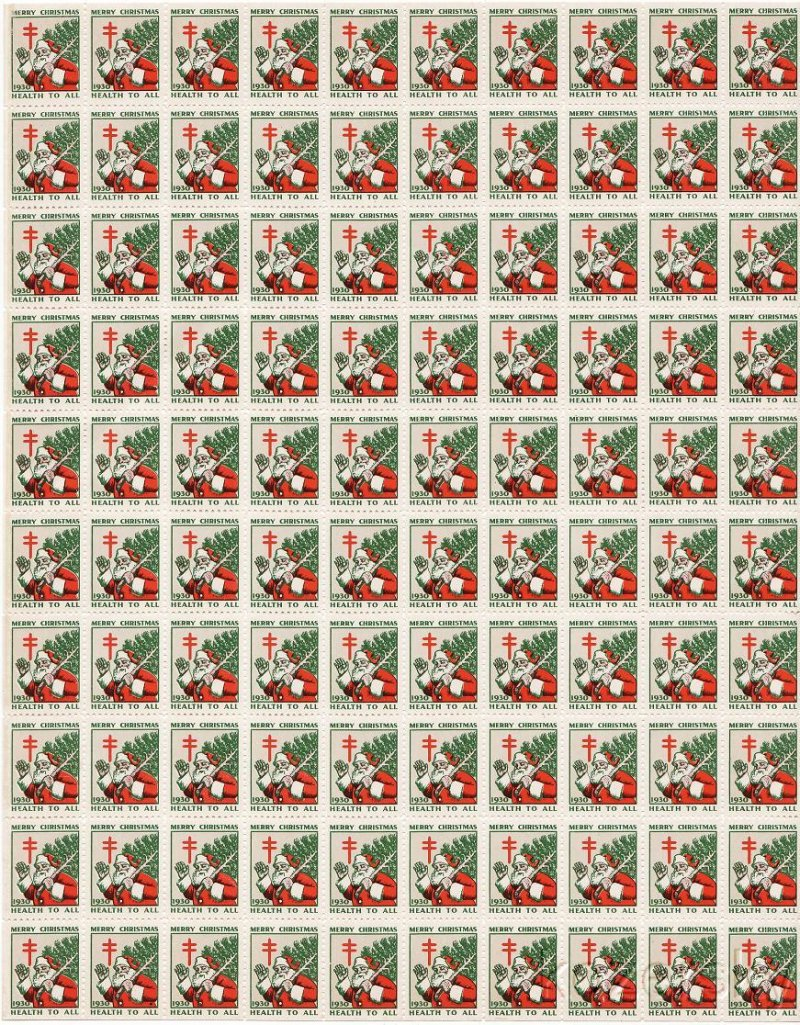1930-2x, WX56, 1930 U.S. Christmas Seals Sheet, pm S