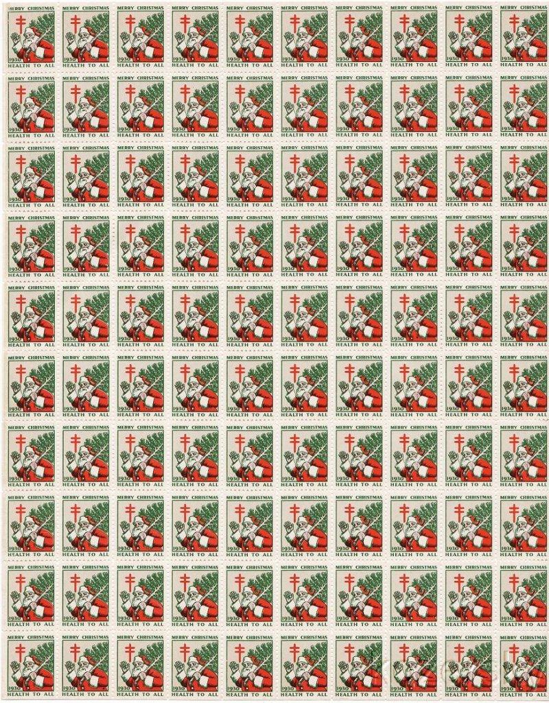1930-2x, WX56, 1930 U.S. Christmas Seals Sheet, pm S