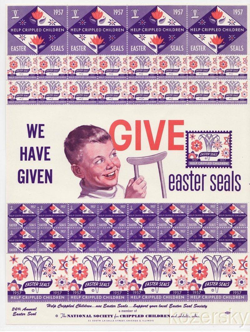 9A-28.12x, 1957 U.S. Easter Seals, Sheet/41, pm