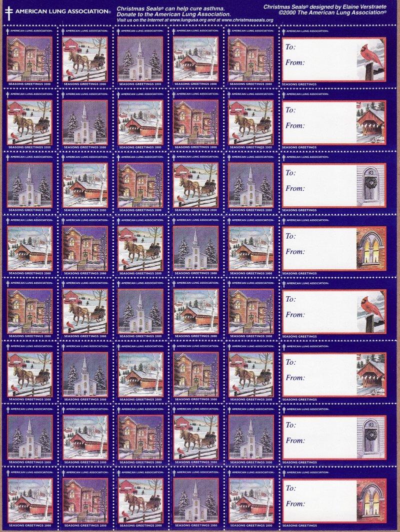 2000-1x1, 2000 ALA National U.S. Christmas Seals Sheet, reverse of sheet