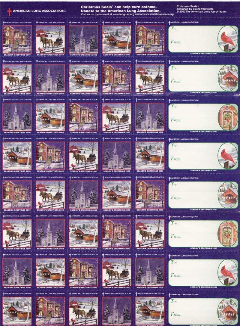 2000-3x2, 2000 U.S. National Christmas Seals Sheet, reverse of sheet
