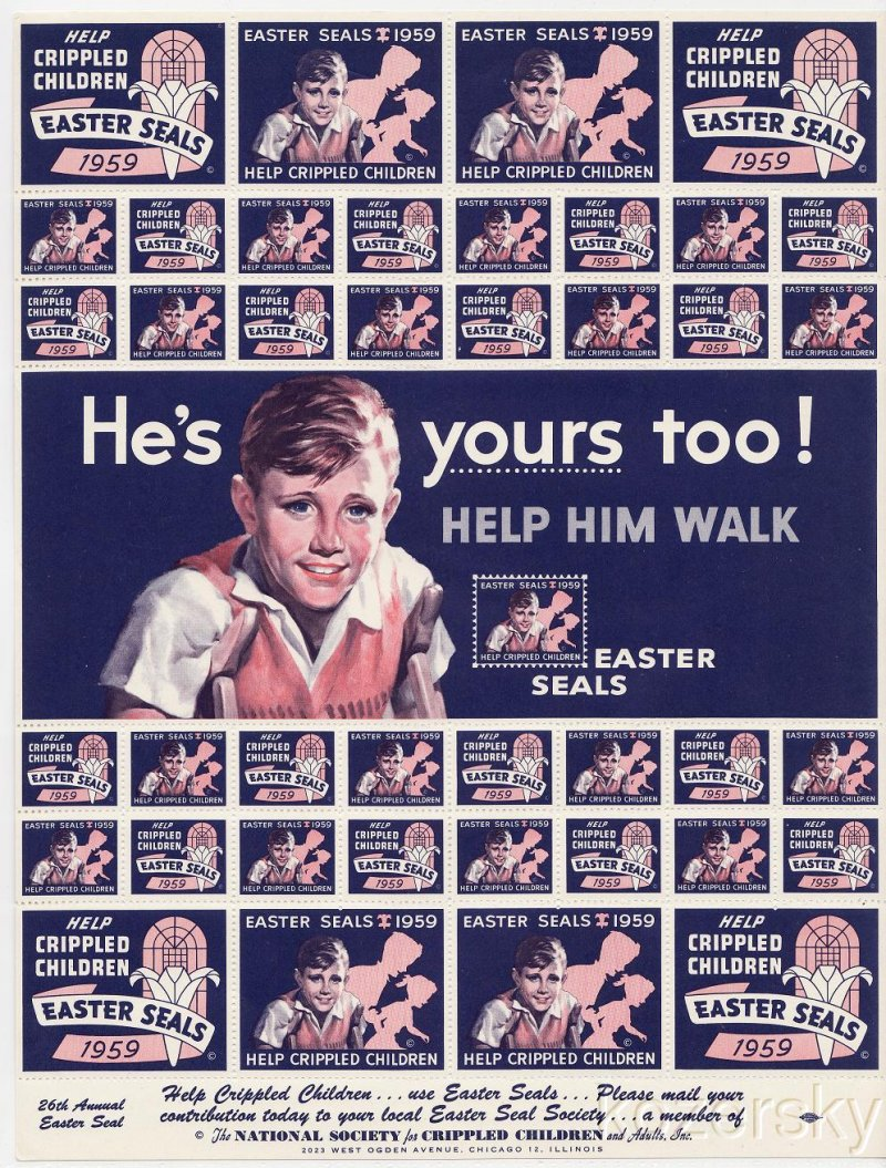 9A-32.11x, 1959 U.S. Easter Seals, Sheet/41, pm