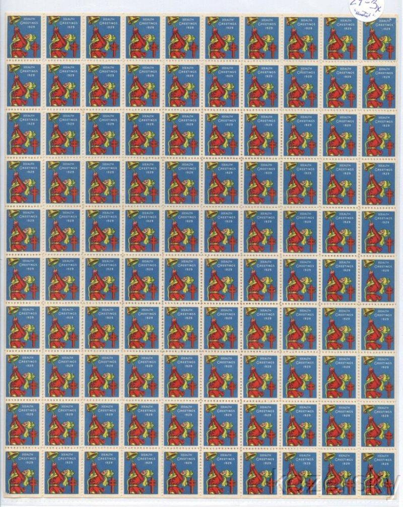 1929-1x, WX49, 1929 U.S. National Christmas Seals Sheet, VBg
