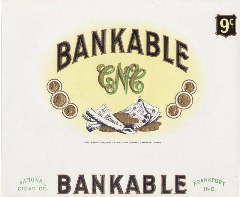 Bankable Inner Cigar Box Label, 1920s