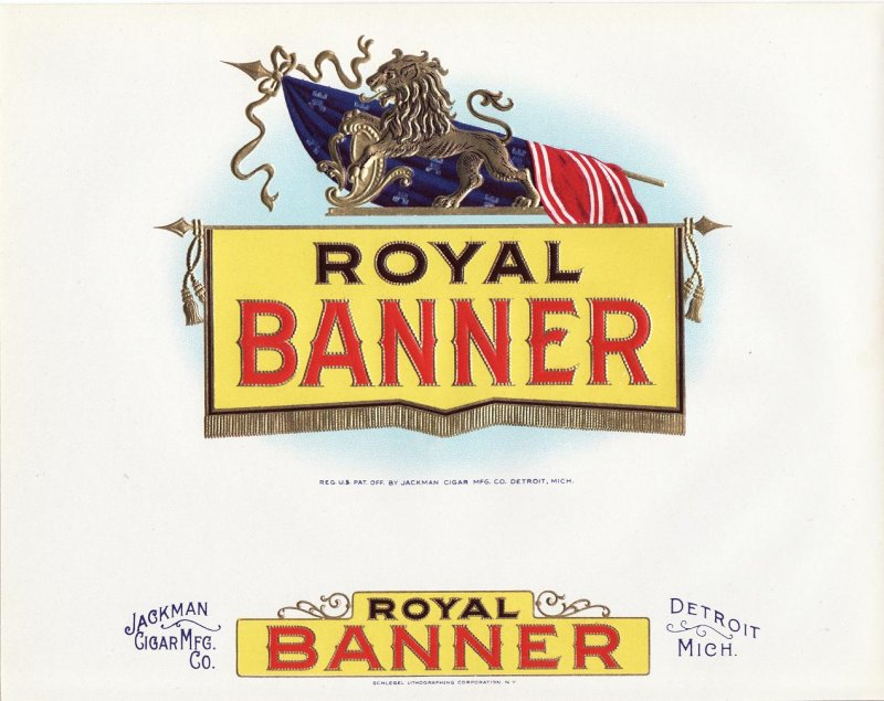 Royal Banner Cigar Box Label, 1930s
