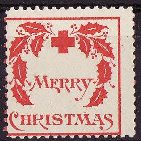 1907-1, WX1, 1907 U.S. Red Cross Christmas Seal, Type 1, Average, reverse of seal