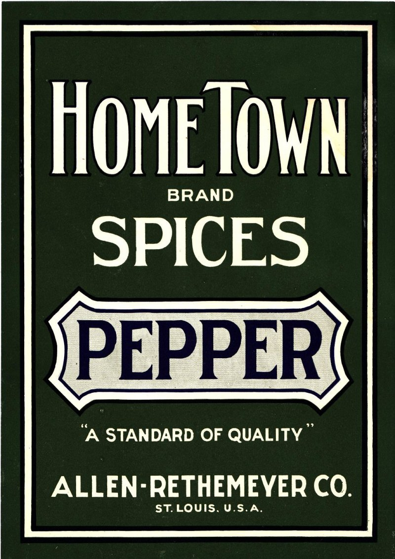 Hometown Brand Spices Pepper Label, 1910s