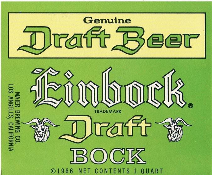 Einbock Draft Bock Beer Label