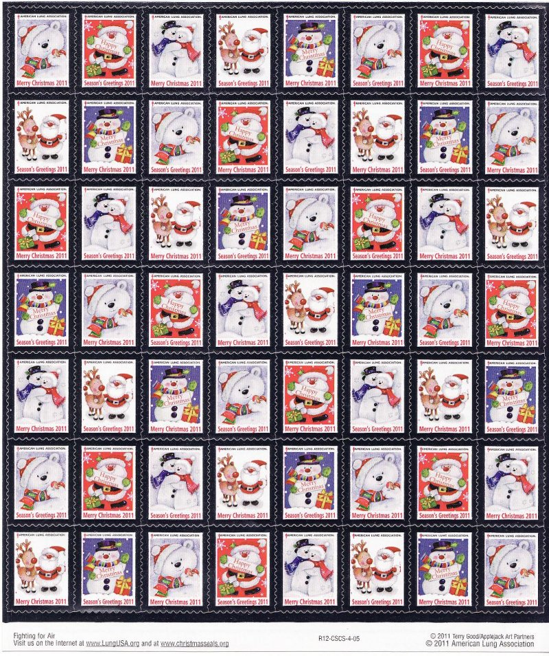 2011-T1x, 2011 U.S. National Christmas Seals, Sheet/56, R12-CSCS-4-05, Back of Sheet