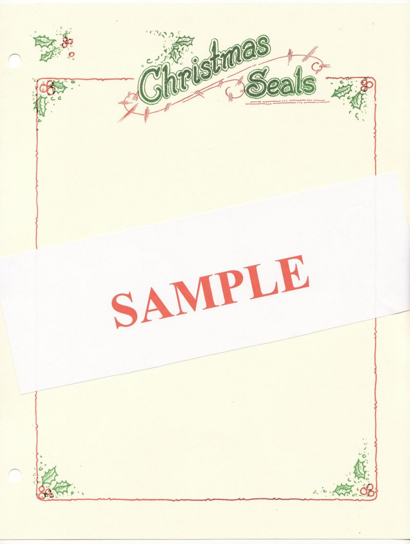 Saint Crispen Christmas Seal Stamp Album Pages, blank pages with color header and border, inage of package