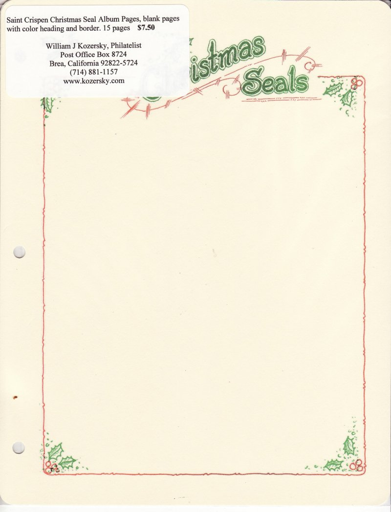 Blank pages to color on - Christmas Seal Stamp Album Pages Blank Pages With Color Header And Border Sheet