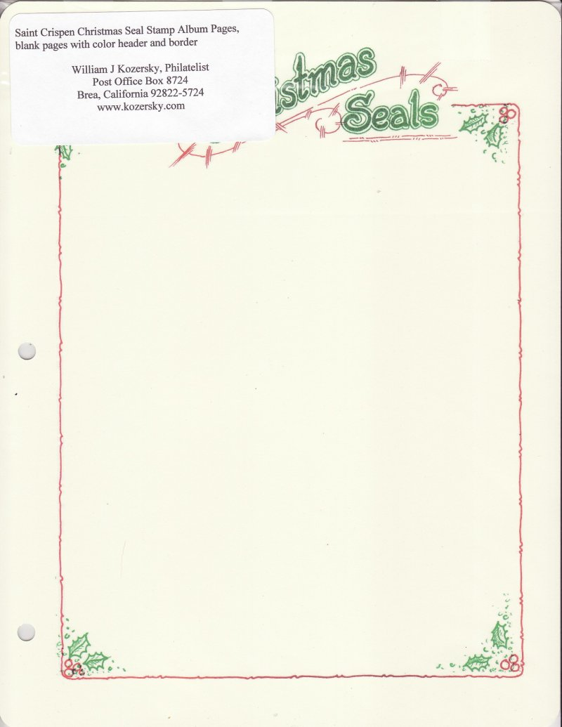 Saint Crispen Christmas Seal Stamp Album Pages, blank pages with color header and border, image of single page