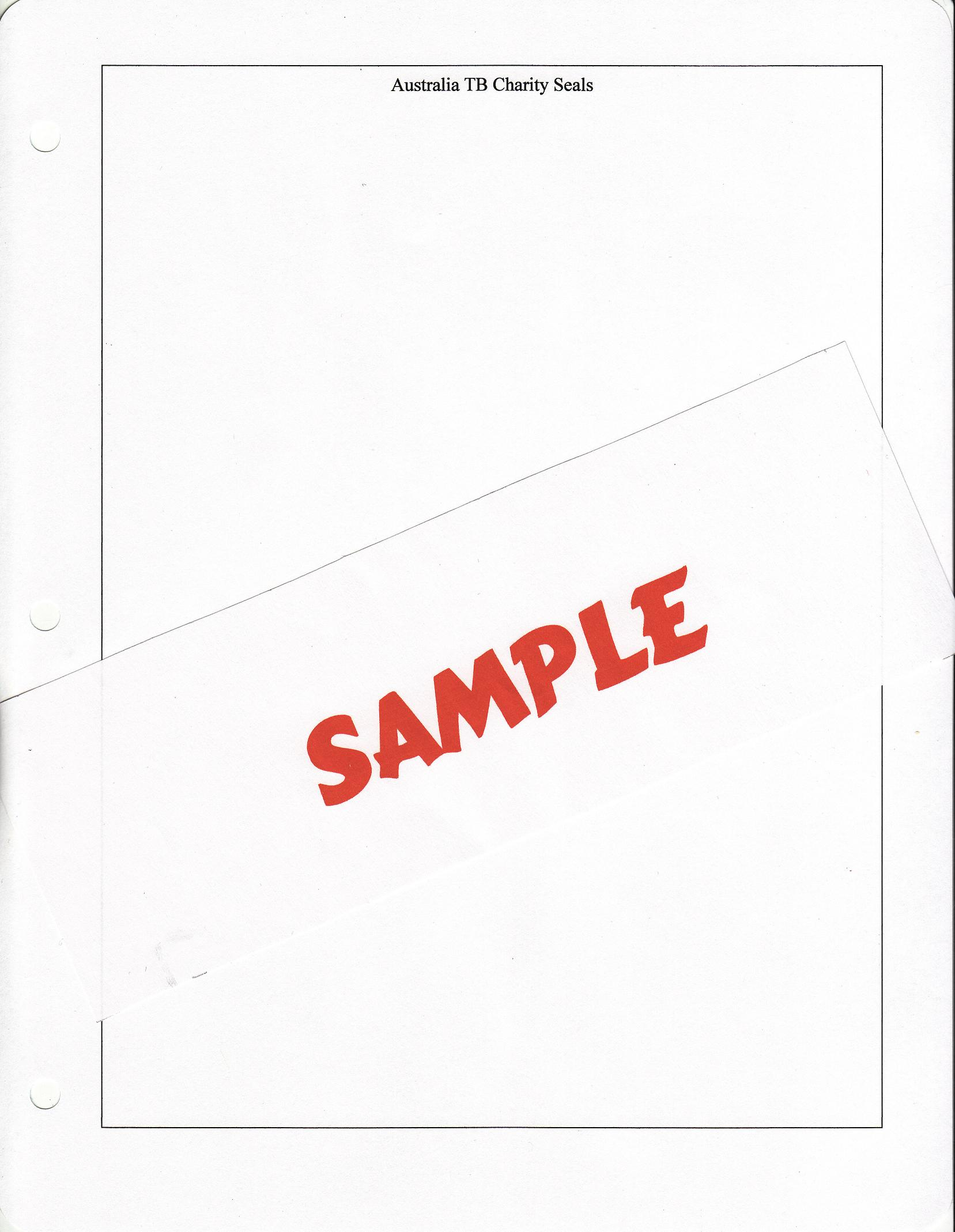 Australia TB Charity Seal Album Pages, Blank White Pages with title and border