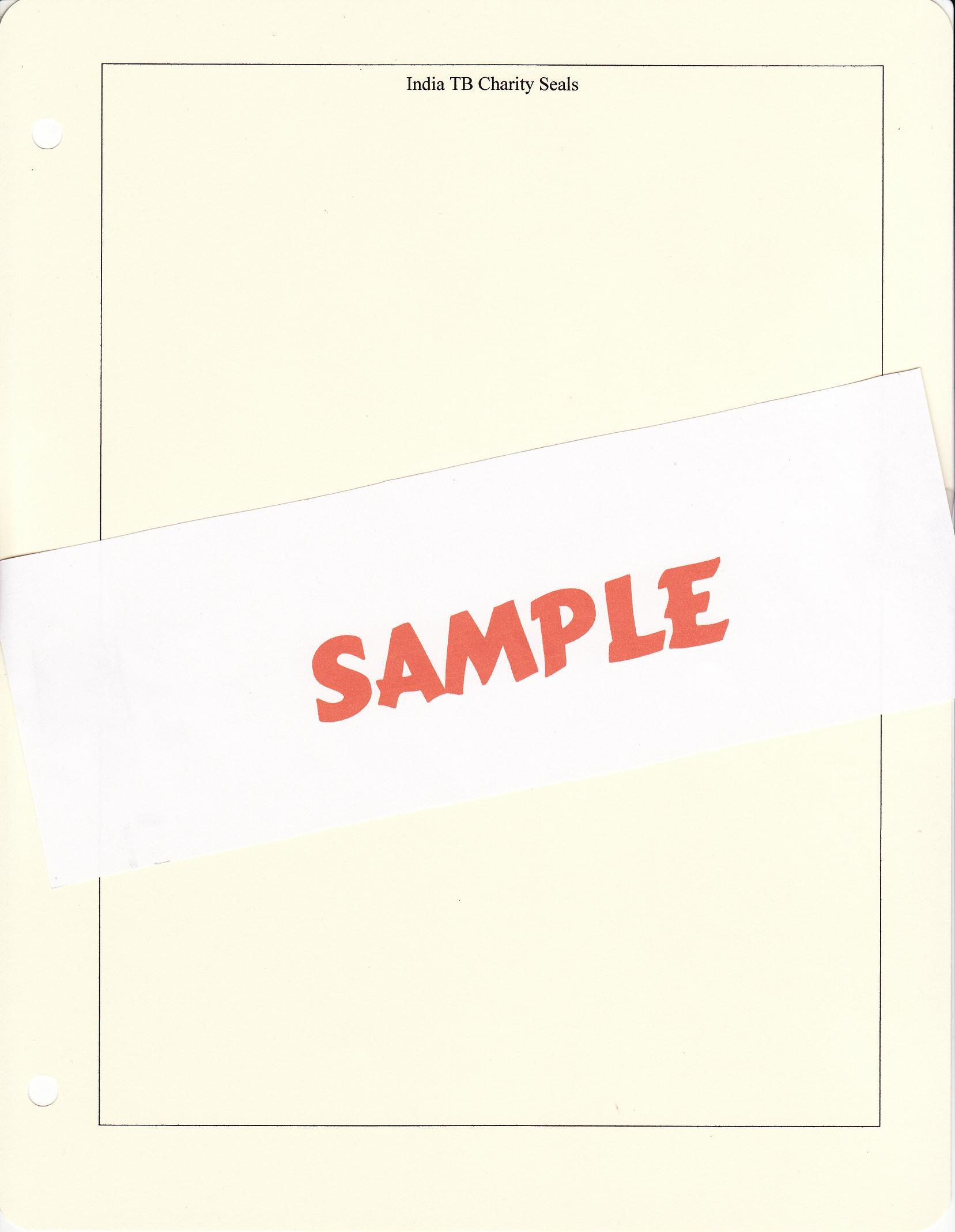 India TB Charity Seal Album Pages, blank pages with title and border