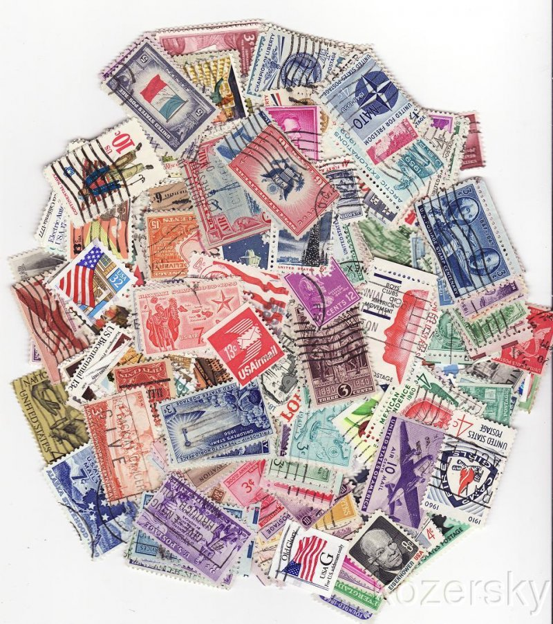 U.S. Stamps, Stamp Packet Collection, 100 different U.S. stamps