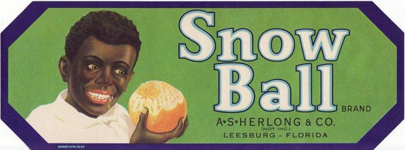 Snow Ball Brand Citrus Crate Label