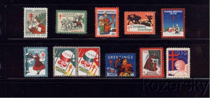 U.S. Christmas Seal Collection, As Required, 1930-39