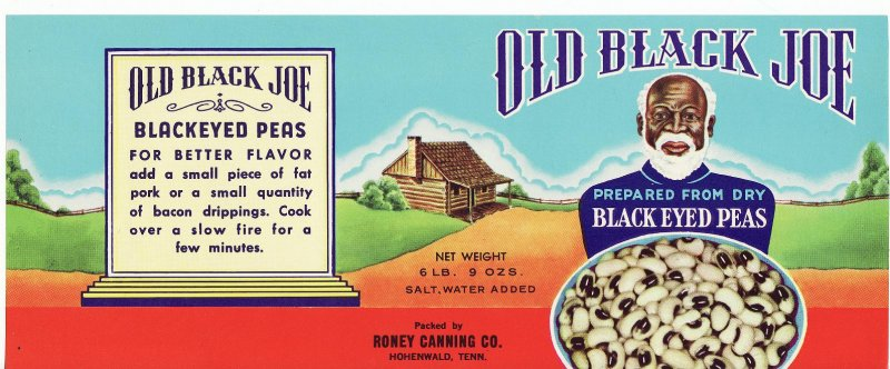 Old Black Joe Black Eyed Peas Can Label