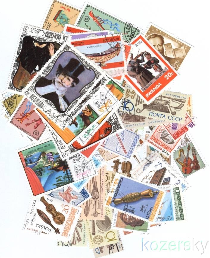 Music on Stamps, Topical Stamp Packet, 50 different music stamps