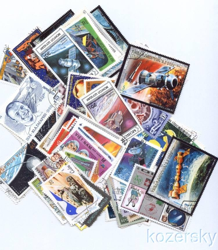 Space on Stamps, Topical Stamp Packet, 100 different space stamps
