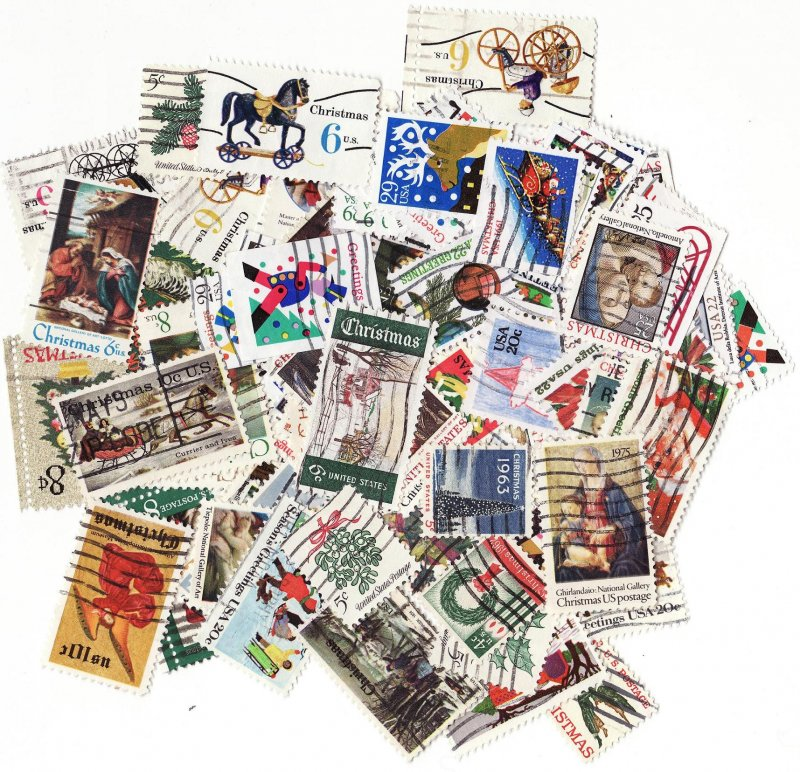 U.S. Christmas on Stamps, Topical Stamp Packet, 100 different stamps