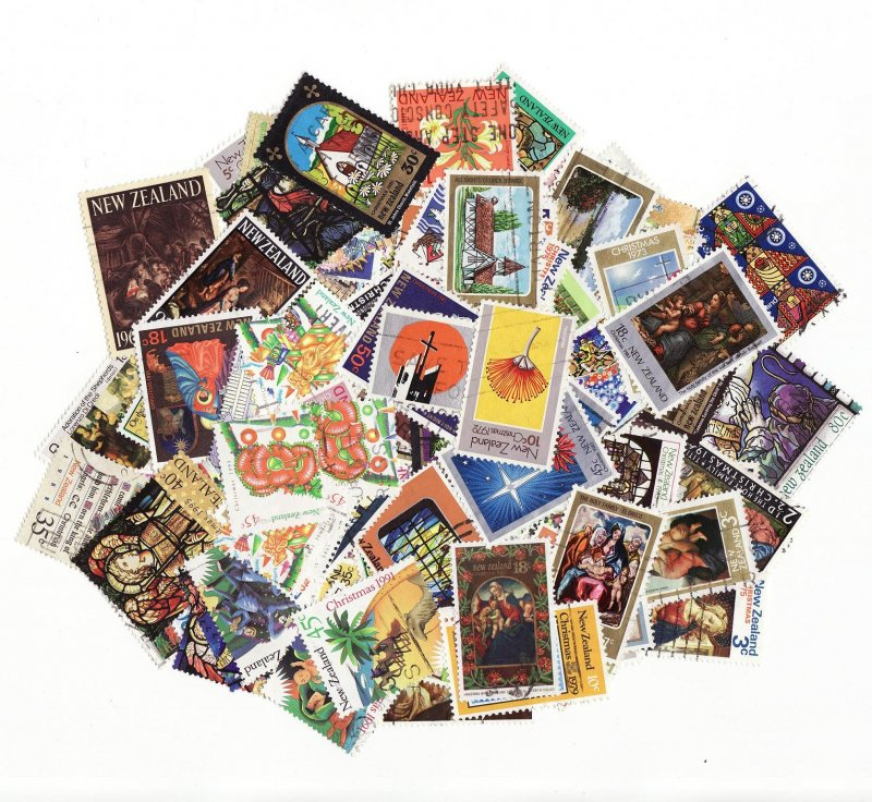 New Zealand Christmas on Stamps, Topical Stamp Packet, 100 different Christmas stamps