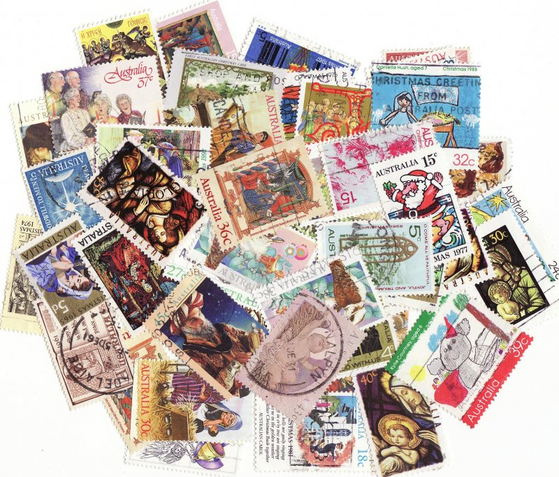 Australia Christmas on Stamps, Topical Stamp Packet,  50 different Christmas stamps