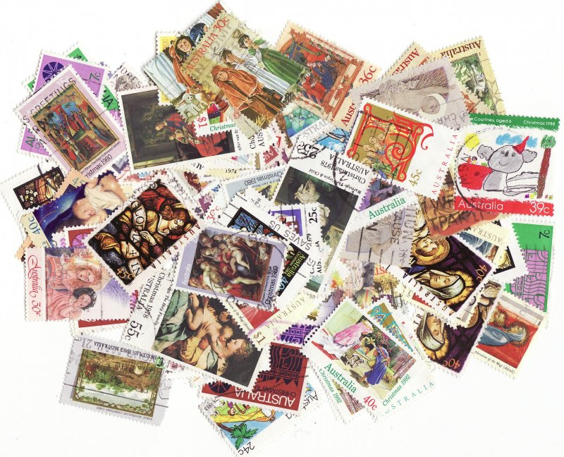 Australia Christmas on Stamps. Topical Stamp Packet, 100 different Christmas stamps