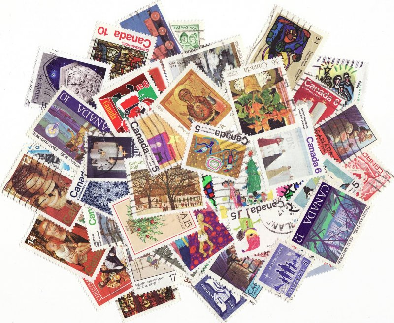 Canada Christmas on Stamps, Topical Stamp Packet, a mixture of 50 different Christmas stamps