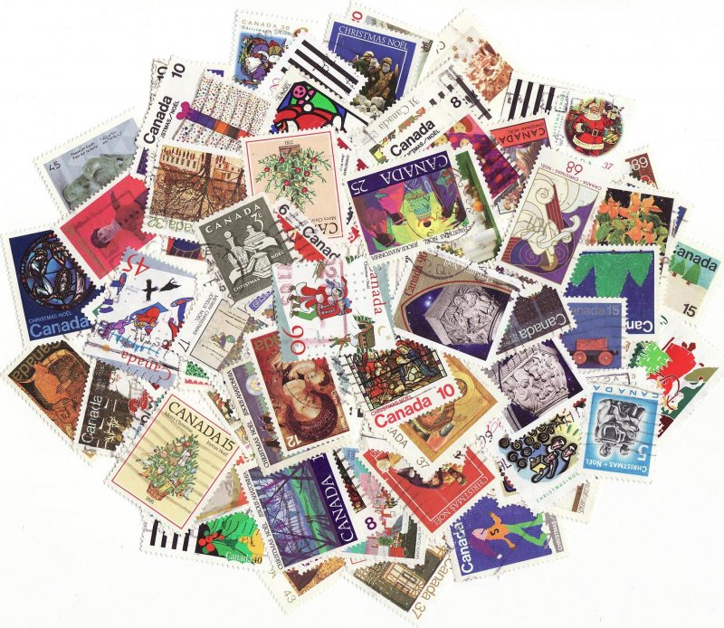 Canada Christmas on Stamps, Topical Stamp Packet, 100 different Christmas stamps