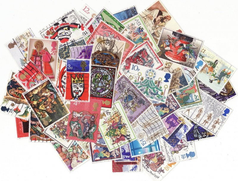 Great Britain Christmas on Stamps, Topical Stamp Packet, 50 different Christmas stamps