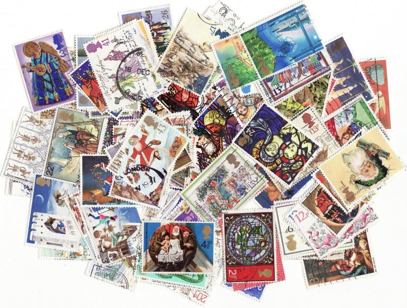 Great Britain Christmas on Stamps, Topical Stamp Packet, 100 different Christmas stamps