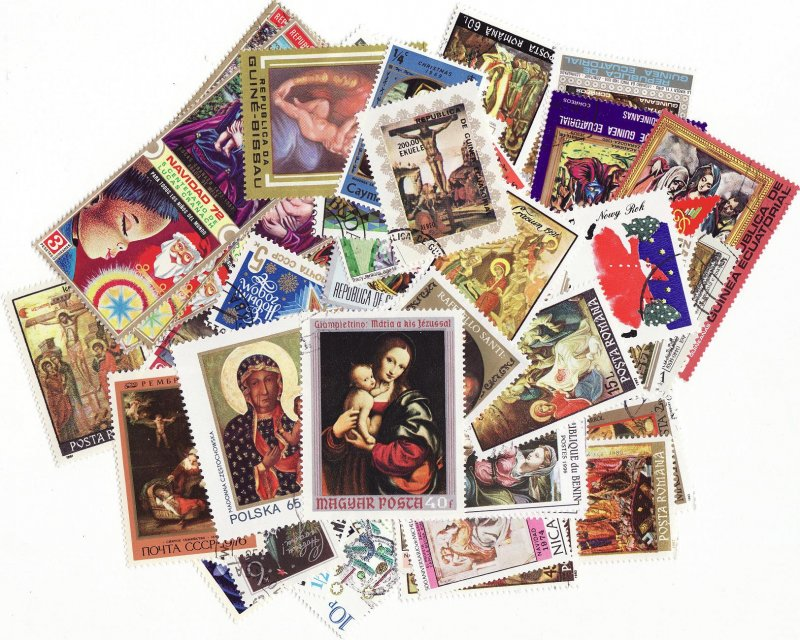 World Wide Holidays on Stamps, Topical Stamp Packet,  50 different Holiday stamps