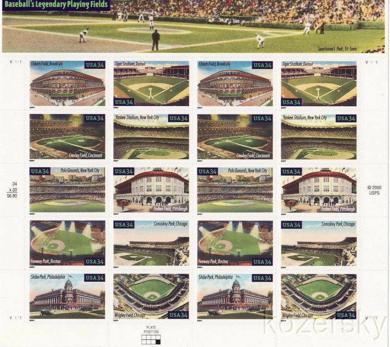 U.S. 3510-19, Baseball's Legendary Playing Fields, Sheet/20