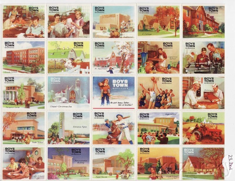 Boys Town 23.2x.1, 1952-59 Boys Town Special Spring Charity Seals Sheet, Type 1