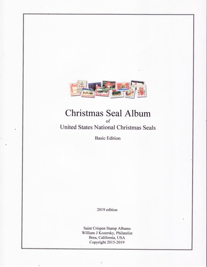 Saint Crispen U.S. National Christmas Seal Stamp Album, 1907-2018, Basic Edition (white)